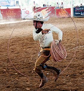 Charro mexicano in a charreada.